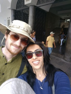 Enjoying a sunny day in Plaza De Armas, Arequipa