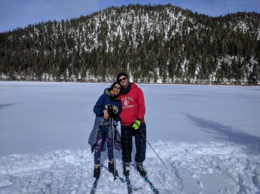 Cross country skiing for the first time in Tahoe